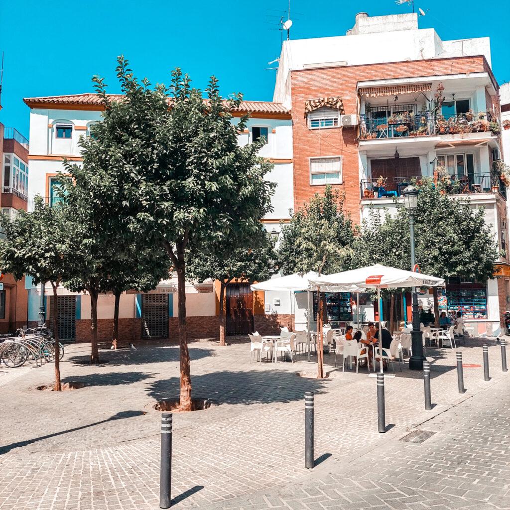 Plac w sewilli, plaza de los terceros, Hiszpania, Andaluzja, bary, plac w Hiszpanii